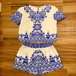 Ornate Blue Two Piece Set